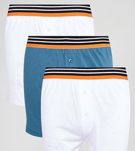 Read more about Asos jersey boxer in white with stripe waistband 3 pack save - white