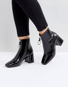 Read more about Asos rosemary patent mid heeled boots - black