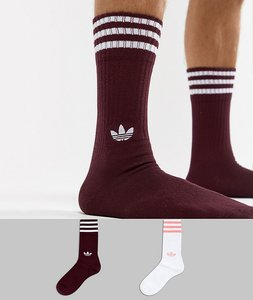 Read more about Adidas originals 2 pack crew socks in red dh3361 - red