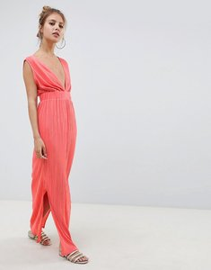 Read more about Asos design deep plunge plisse maxi dress - coral pink