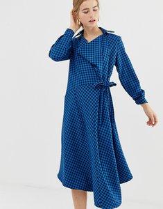 Read more about Asos white midi wrap dress in check print