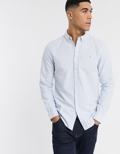 Read more about Farah brewer slim fit oxford shirt in blue - sky blue