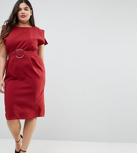 Read more about Asos curve split cap sleeve midi dress with modern ring belt - burnt orange