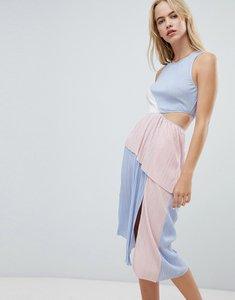 Read more about Asos design colour block plisse dress - multi