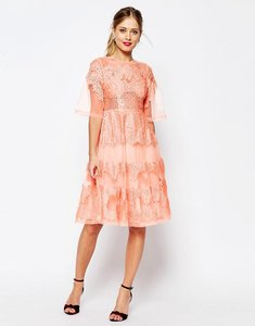 Read more about Asos salon lace and organza midi dress - coral
