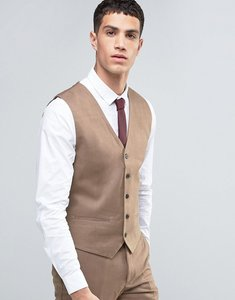 Read more about French connection flannel slim fit waistcoat - tan
