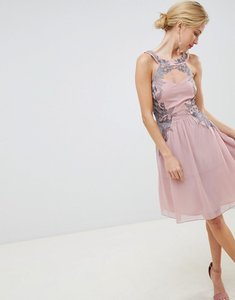 Read more about Little mistress chiffon skater dress with embellished detail - rose