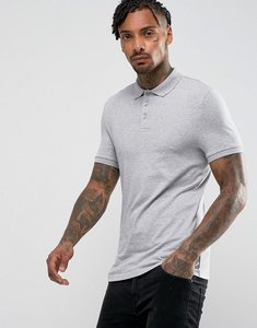 Read more about Asos extreme muscle polo shirt in jersey in grey marl - grey marl