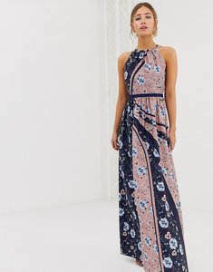 Read more about Little mistress high neck floral scarf print maxi dress in multi