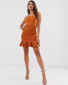 Read more about Laced in love flippy hem mini scuba dress in deep brown
