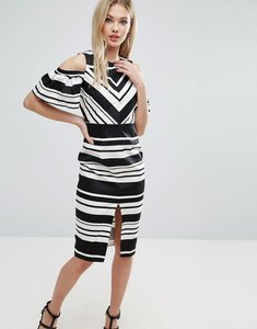 Read more about Asos cold shoulder pencil dress in black and white stripe - multi