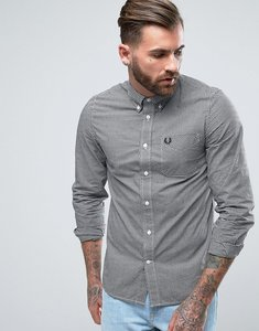 Read more about Fred perry shirt in slim fit gingham with long sleeves black - black