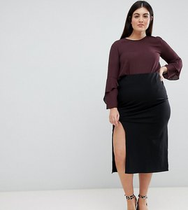 Read more about Asos design curve midaxi skirt with front split - black