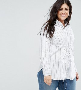 Read more about New look curve pin-stripe corset shirt - white pattern