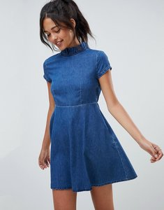 Read more about Asos design denim smock dress with ruffle neck - blue