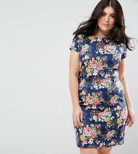 Read more about Uttam boutique plus floral pencil dress with ruched side - navy