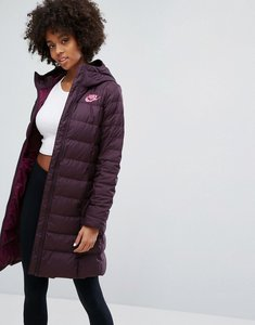 Read more about Nike down filled long padded parka jacket - port wine bordeaux