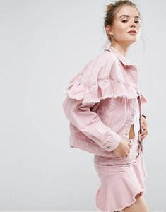 Read more about Pull bear pink denim frill jacket - pink
