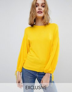 Read more about Warehouse blouson tie sleeve jumper - yellow