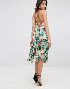 Read more about Asos tropical print strappy back midi dress - multi