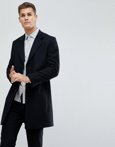 Read more about French connection wool blend overcoat with velvet collar - black