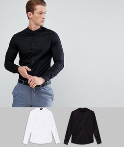Read more about Asos skinny shirt multipack in black and white with grandad collar save - multi