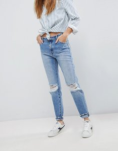 Read more about Rolla s miller high waisted skinny jean with ripped knee - outback blue