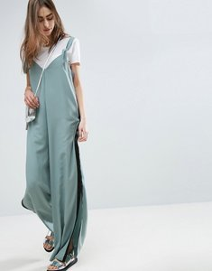 Read more about Asos minimal wide leg jumpsuit with side stripe and splits - dusty blue