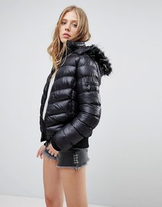 Read more about Qed london short padded jacket with hood - black