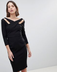 Read more about City goddess cross over midi dress - black