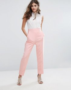 Read more about Miss selfridge high neck lace top jumpsuit - nude