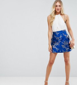 Read more about Asos tall jacquard mini wrap skirt - multi