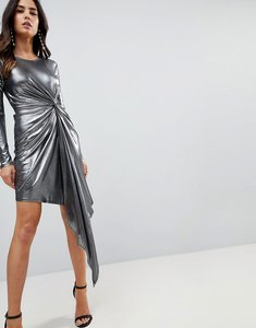 Read more about Asos metallic bodycon knot front slinky mini dress - silver