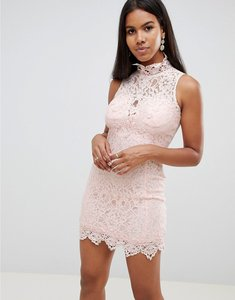 Read more about Rare london scallop lace mini dress - cream
