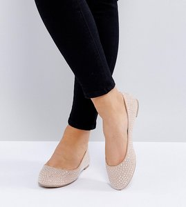 Read more about New look wide fit embellished ballerina - oatmeal