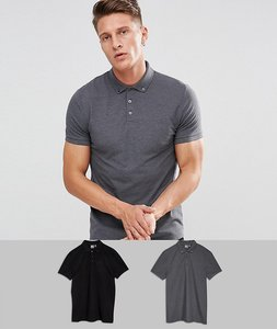 Read more about Asos design pique polo with button down collar 2 pack save - black char marl