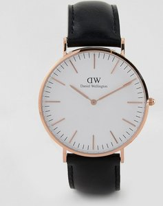 Read more about Daniel wellington leather canvas interchangeable strap watch gift set in black navy - black
