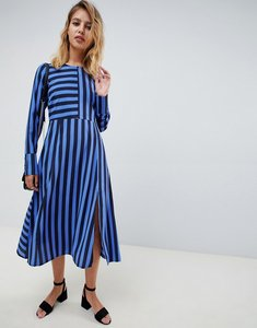 Read more about Asos design midi dress in cut about stripe with long sleeves - multi