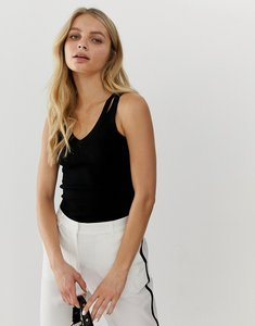 Read more about Bershka knitted v neck cami - black