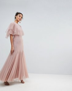 Read more about Asos tulle godet flutter sleeve maxi dress - nude