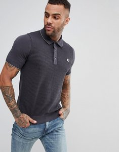 Read more about Fred perry textured knitted polo shirt in grey - 491