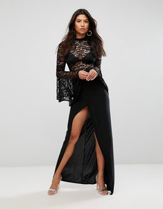 Read more about Club l lace flute sleeve high neck maxi dress with wrap front skirt - black