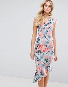 Read more about Asos floral scuba one shoulder pephem midi dress - nude