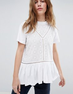 Read more about Asos design smock t-shirt with broderie and frill hem - white