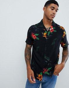 Read more about Asos design regular fit floral shirt in black - black