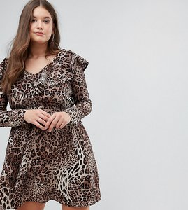 Read more about Club l plus ruffle wrap dress - leopard