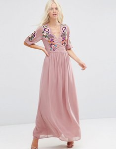 Read more about Asos premium wrap maxi dress with embroidered peacock and flower detail - pink