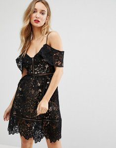 Read more about New look premium cutwork lace cold shoulder dress - black
