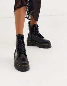 Read more about Dr martens jadon flatform boots - black polished smoot