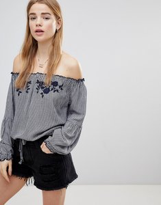 Read more about Hollister off the shoulder gingham top - navy gingham